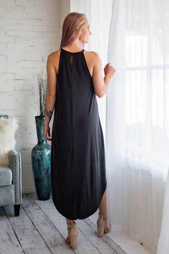 Ocean Waves Handkerchief Maxi Dress : Black