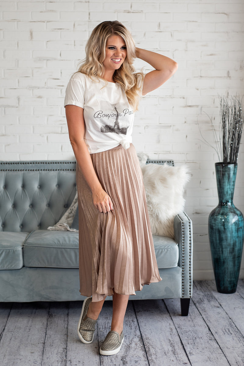 Sweet Nothing Pleated Skirt : Mocha