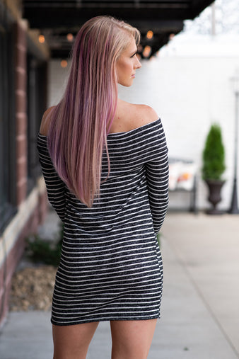 Bitter Sweet Moment Off The Shoulder Striped Dress : Black/Ivory