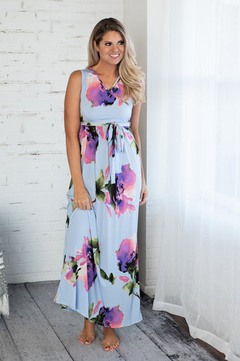 Midnight Blooms Sleeveless Maxi Dress : Light BLue
