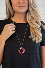 Hattie Acrylic Qua Trefoil Necklace : Rose Multi