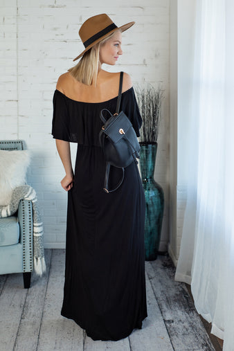 Dawn Till Dusk OTS Maxi Dress : Black