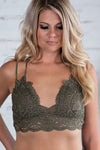Lace And Luxury Padded Bralette: Olive