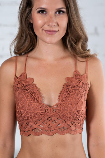 Lace And Luxury Padded Bralette: Terracotta