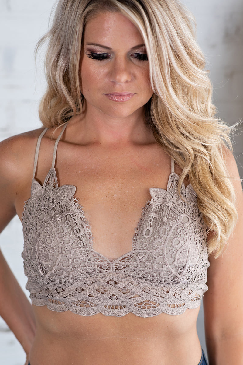 Lace And Luxury Padded Bralette: Mocha