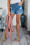 The Whitney Distressed Denim Shorts : Medium Wash
