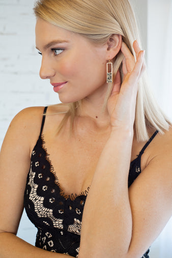 Ensley Gold Rectangle Stone Earrings : Stone Speck