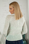 Can't Blame You Tie Front Sweater : Mint Leopard