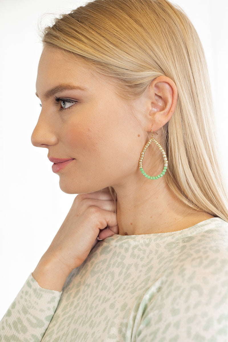Yara Teardrop Crystal Earrings : Jade