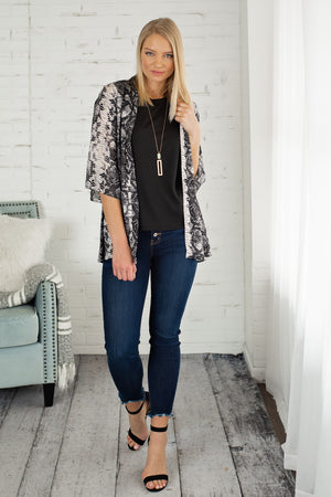 VIP Treatment Snake Print Kimono : Grey/Black
