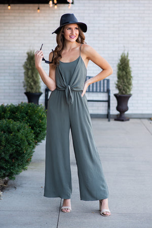 Work The Runway Jumpsuit : Olive