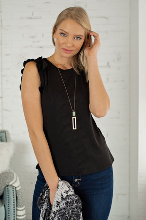 Love So Sweet Ruffle Sleeve Top : Black