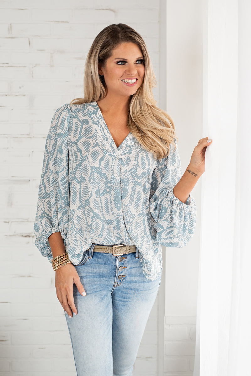 Undeniably Fun Snake Bubble Sleeve Top : Dusty Teal/Ivory