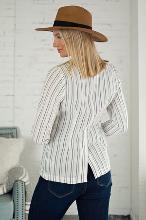 Cross It Off Stripe Blazer : White/Black