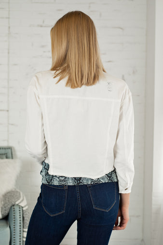 Spring Into Happy Frayed Denim Jacket : White