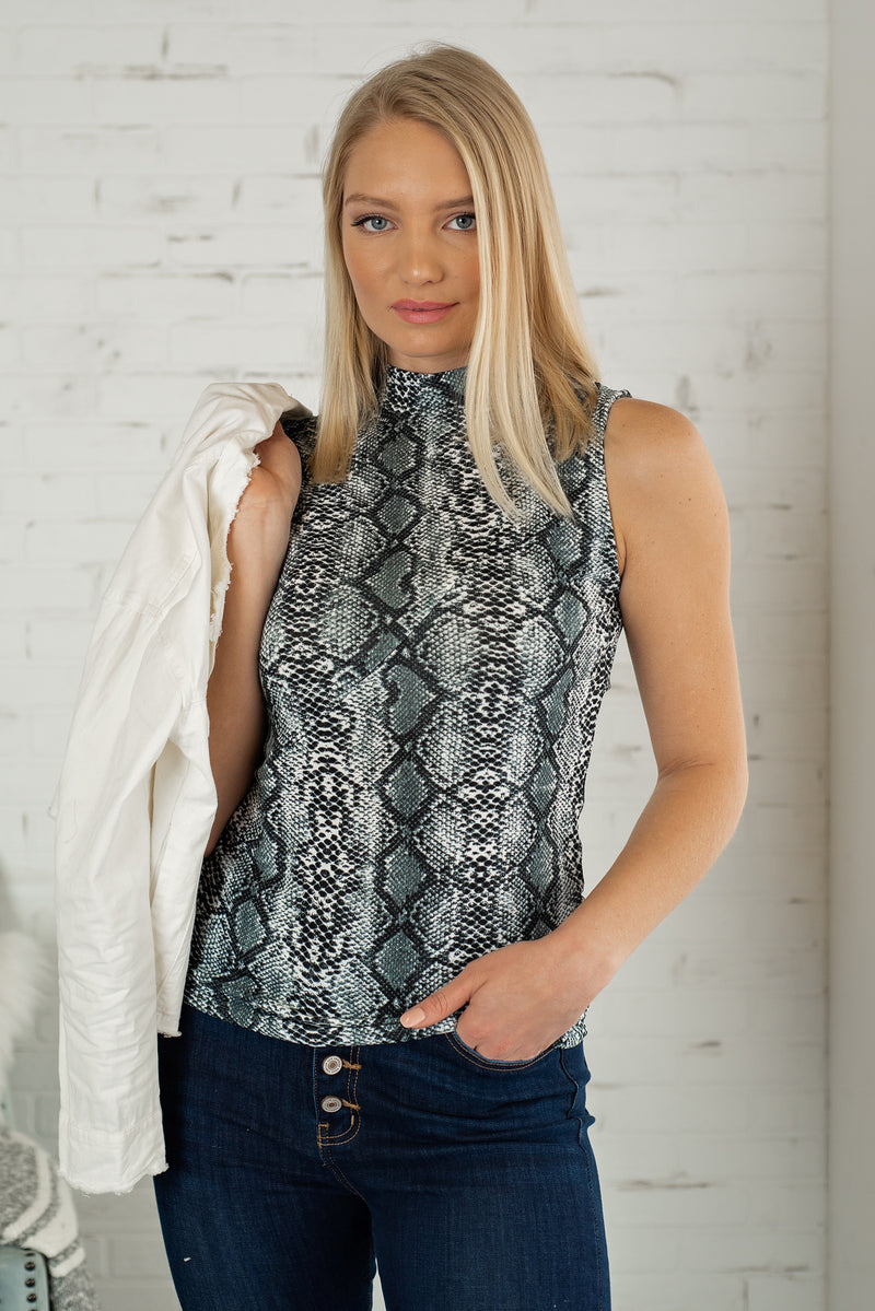 Take Me Out Snake Print Top : Black/Grey