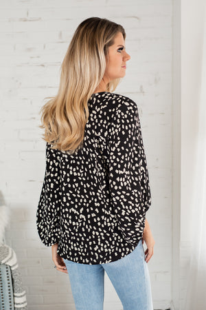 Thinking About You Balloon Sleeve Top : Black