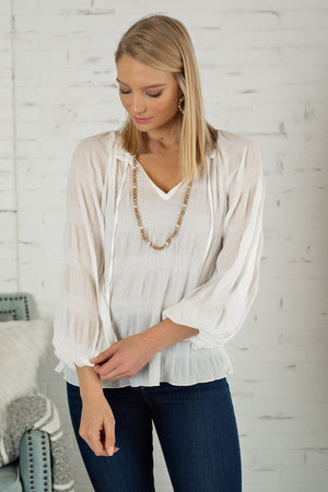 No Drama Crinkled Peasant Top : White
