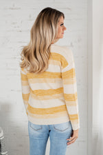 Seek The Sun Tiered Fringe Hem Sweater : Cream/Mustard