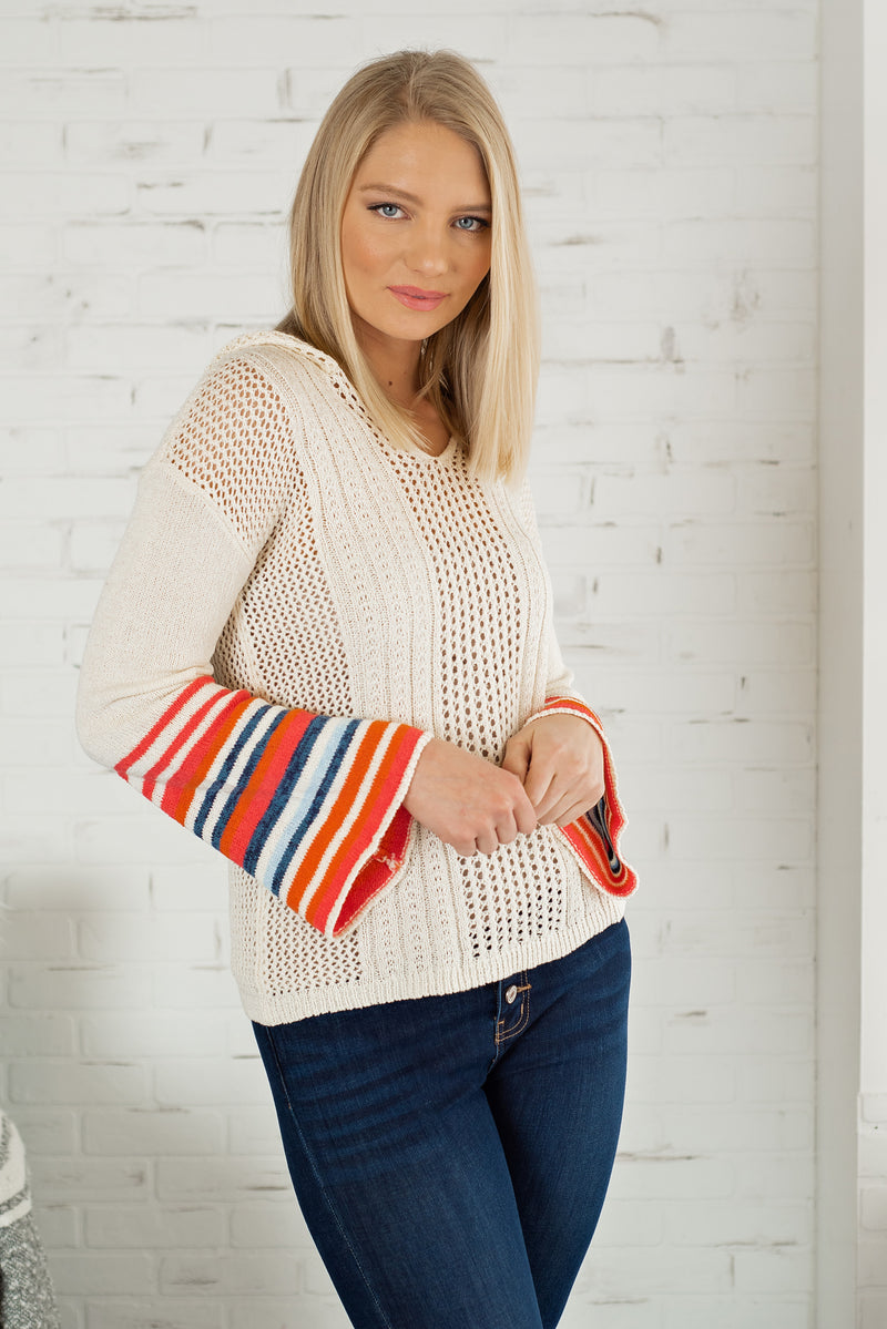 Meant To Be Yours Mix Stripe Hoodie : Cream/Multi