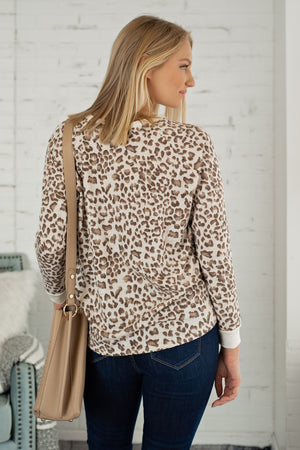 No New Tricks Leopard Long Sleeve Top : Oatmeal