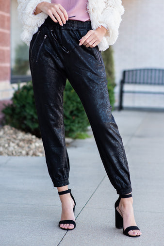 Stepping Out Faux Leather Snake Joggers : Black