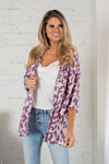 Infinite Dreams Animal Print Kimono : Lavender/ Dust Pink