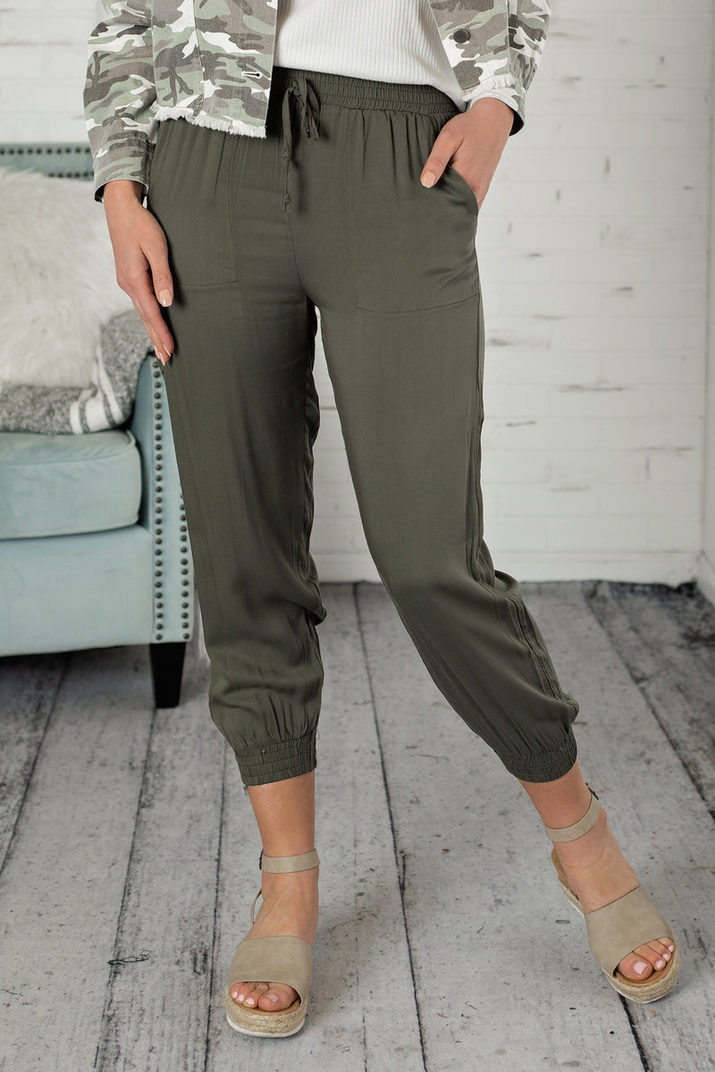 On The Run Elastic Waist Joggers : Olive