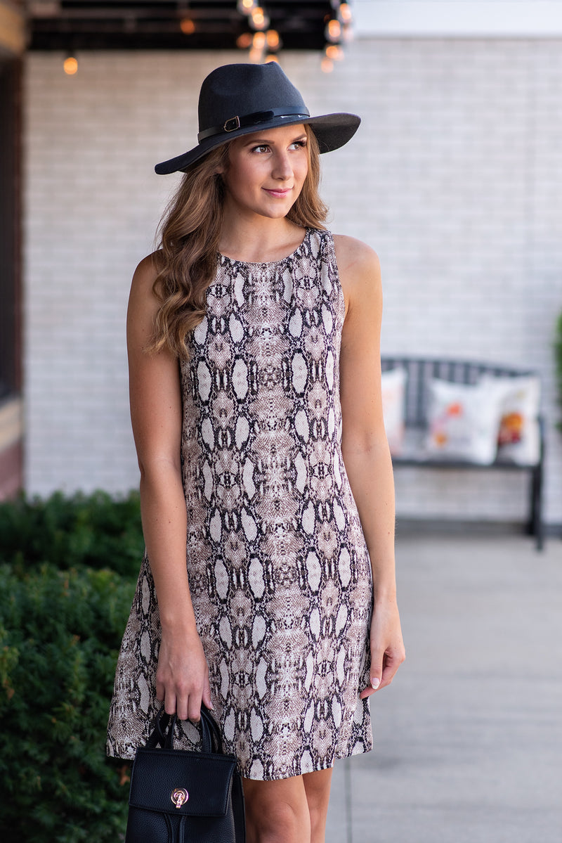 Hold Your Ground Shift Dress : Taupe