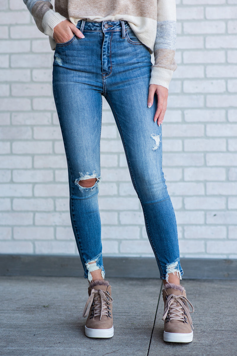 Liza High Rise Distressed Denim : Medium Blue