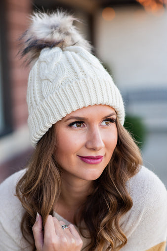 Snowy Feels Fleece Lined Pom Beanie : Ivory