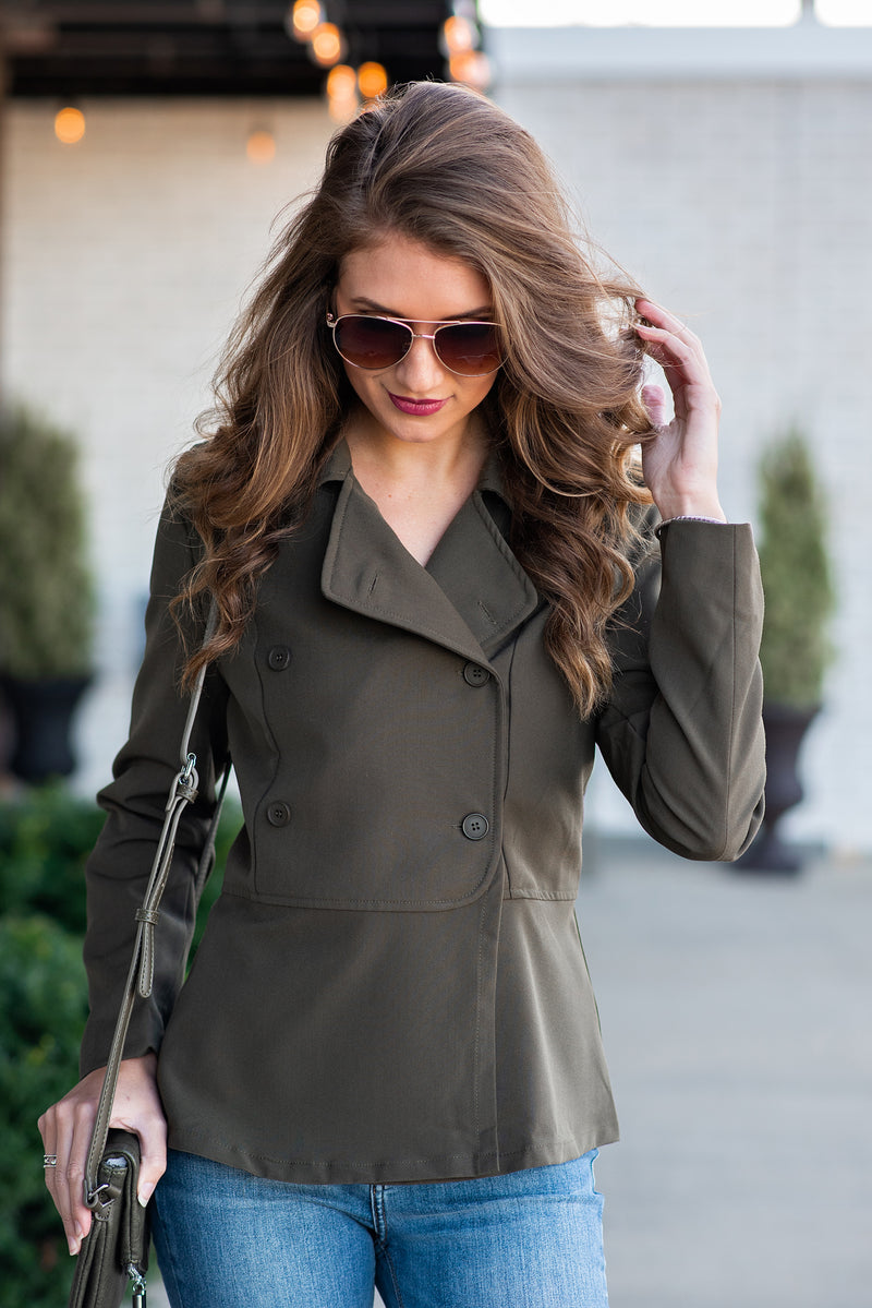 Front Page Worthy Peplum Jacket : Olive