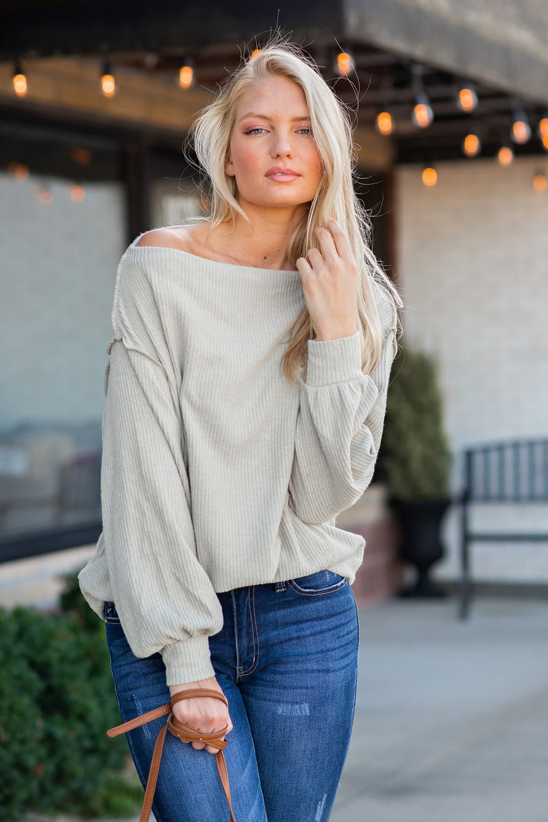 Just Dreaming Off The Shoulder Top : Light Olive