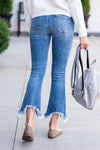 Keep It Sassy Flare Fray Hem Jeans : Medium Blue