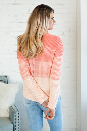 Mutual Attraction Ombre Sweater : Coral/Pink