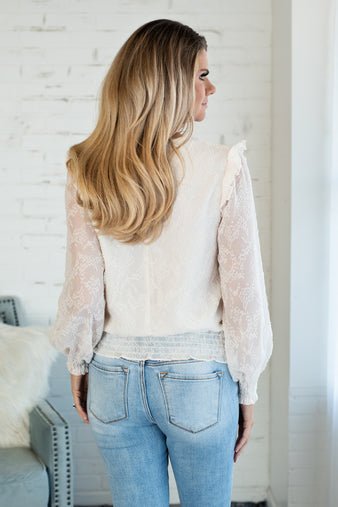 Springtime Bliss Ruffle Blouse : Cream