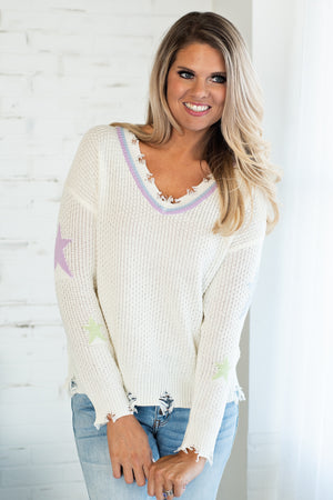 Hope You Know Color Stripe Sweater: Ivory/Multi