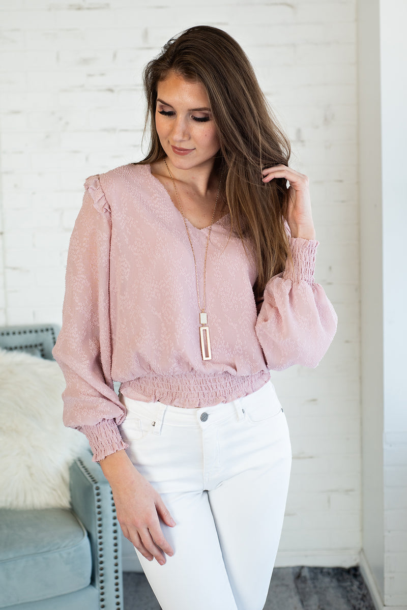 Springtime Bliss Ruffle Blouse : Dusty Rose