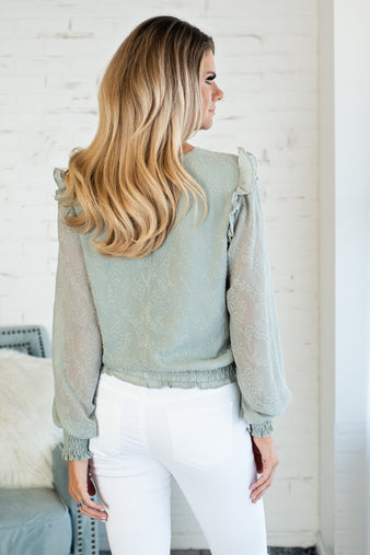 Springtime Bliss Ruffle Blouse : Sage