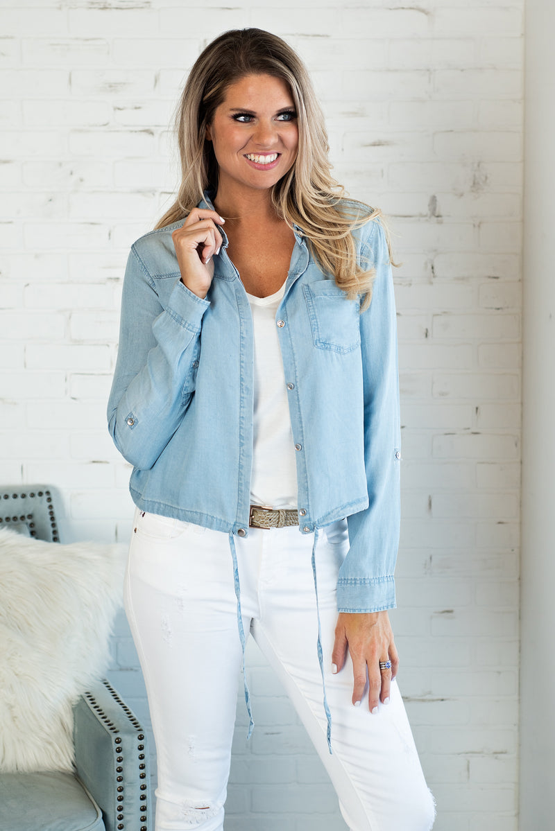 A Day Away Denim Shirt : Light Blue