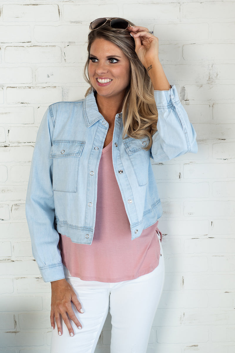 Lead Me To The Sky Light Denim Jacket: LT Blue