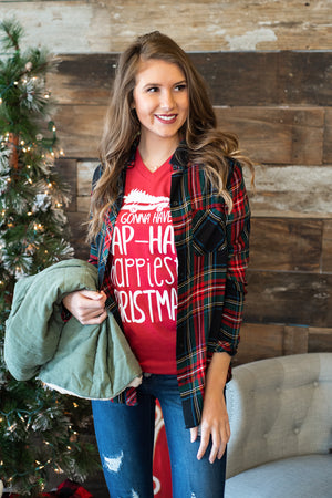 California Campfire Plaid Top : Red/Forest Green