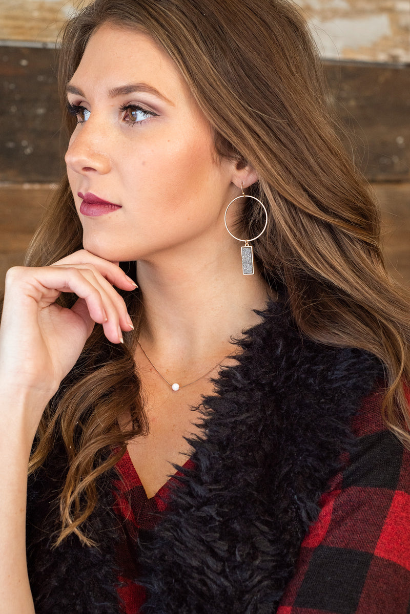 Stay Close Hoop Druzy Earring : Shimmer Dark Grey