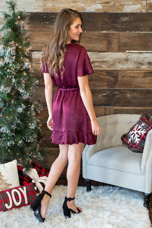 'Tis The Season Faux Wrap Ruffle Dress : Raisin