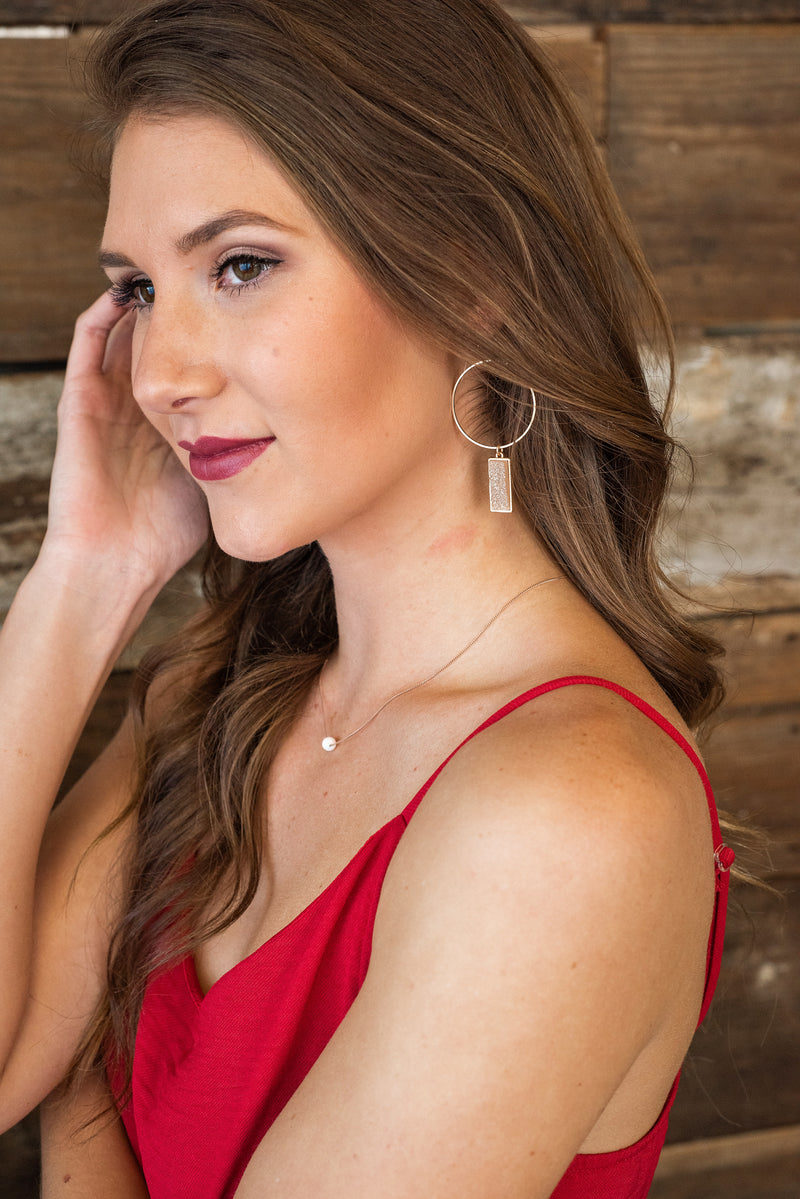 Stay Close Hoop Druzy Earring : Shimmer Light