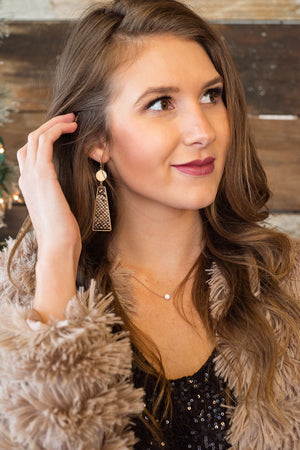 Forevermore Snake Print Drop Earrings : Gold