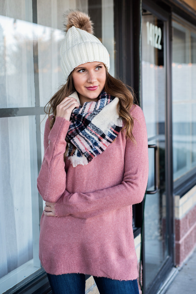 Classic Style Blanket Scarf : Ivory, Pink, Navy