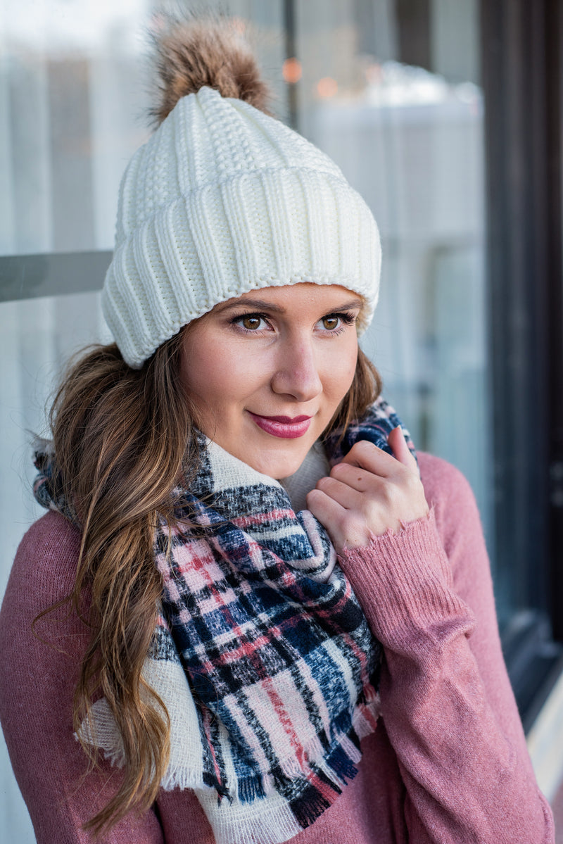 CC Beanie (Fleece Lined With Pom): Ivory