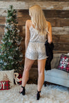 Dare To Dazzle Sequin Romper : Champagne