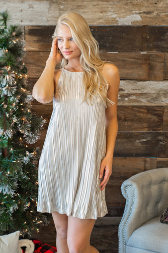Kiss Me At Midnight Shift Dress : Gold/Champagne
